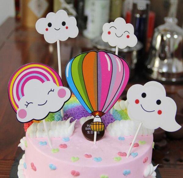 Cake placard cloud colorful hot air balloon rainbow birthday party baking cake decoration card insertion flag GA706