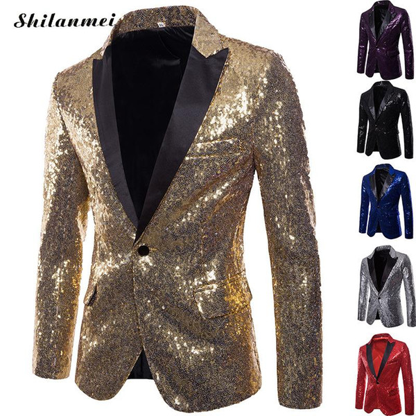 Mode brillant or paillettes paillettes orné blazer veste hommes discothèque costume de bal Blazer mâle un bouton costume DJ Stage Blazers