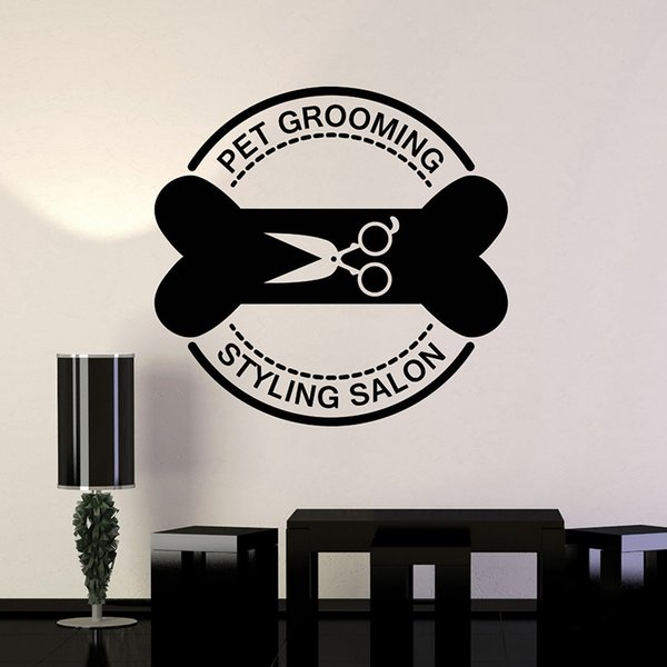 Pet Grooming Salone di bellezza murali Stickers Cat Dog Bone Forbici Mural Wall Sticker per gli animali domestici da parati negozio del vinile per Finestra