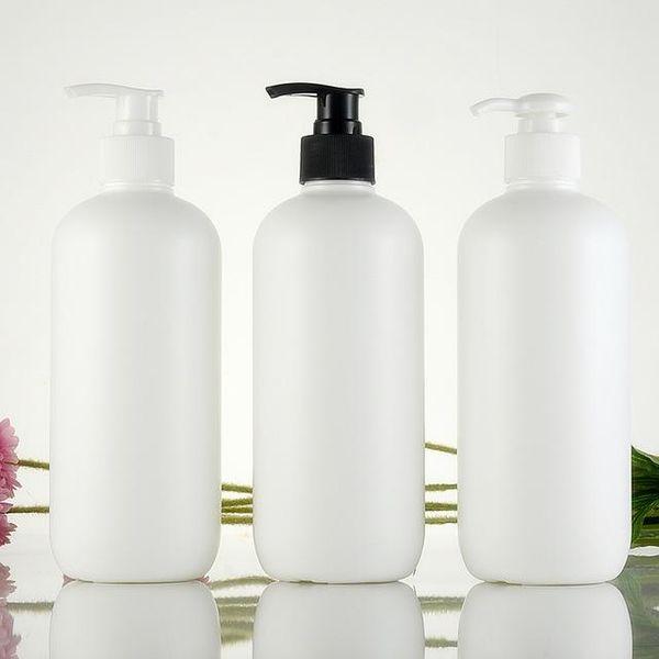 Cilindro blanco vacío botella de plástico botella de loción bomba de loción HDPE contenedor de cosméticos de 500 ml botella de plástico loción