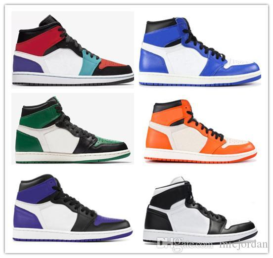 De calidad superior Nuevo 1 High OG Bred Toe Chicago Banned Game Royal Basketball Shoes Hombres 1s Top 3 Shattered Backboard Shadow Multicolor Sneakers