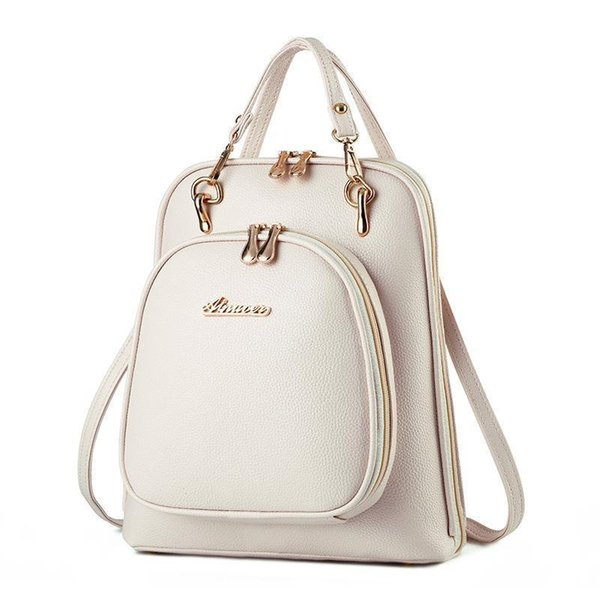Backpack Travel Bag Women Girls Waterproof Printing Candy Color Pu Bags Small Fresh Handbag Lady College Wind Girls Schoolbags