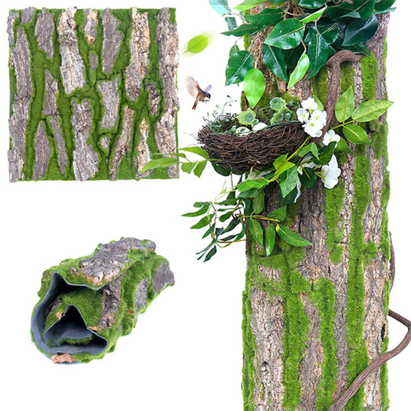 Artificial Dried Pine Tree Bark with Moss for Water Pipe Pillar Wrap Tree Skin Fake Flower DIY Home Decoration