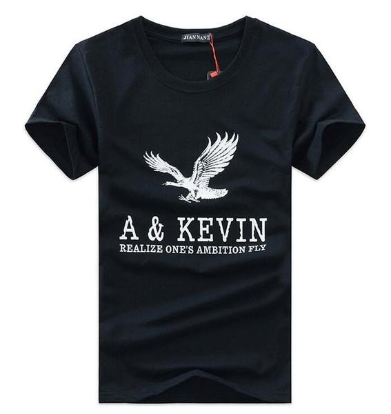 2018 Mens clothing tops tees t camisa branca de algodão respirável de manga curta t-shirt impressão águia casual tee shirt dos homens tamanho 5XL