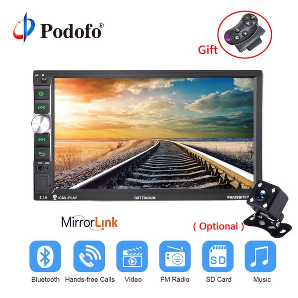 Podofo Çift 2 Din Araba Radyo 7 '' Ses Stereo Bluetooth Multimedya Oynatıcı Ses Stereo FM / MP5 / USB / Bluetooth Desteği Arka Kamera