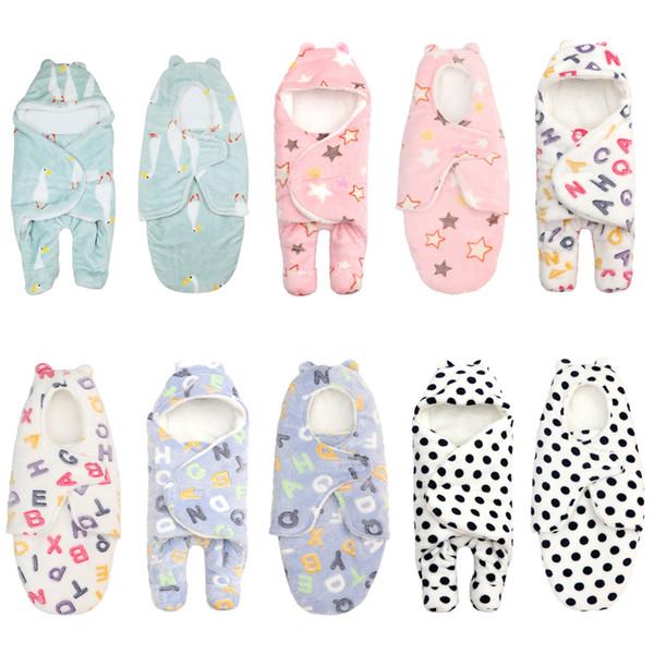 Sacos de dormir de Flanela Ajustável Do Bebê Do Bebê Do Bebê Sleepsacks Sleeper Para Roupas de Dormir 0-8 Mês Recém-nascido Cobertor Swaddle