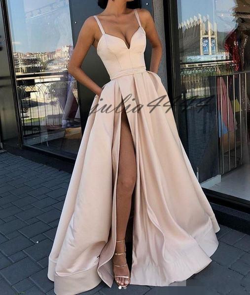 Nueva Ivory Sexy Front Split Vestidos de noche Vestidos largos de fiesta Vestidos de espagueti Vestidos para ocasiones especiales 2019