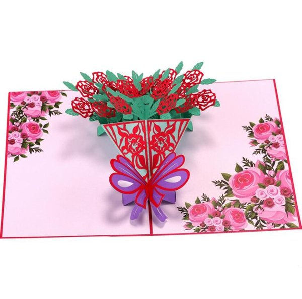 3D Rose flower Cutting Greeting Cards Handmade Gift for Wedding party Father's Day Mother's day Valentine day Anniversary