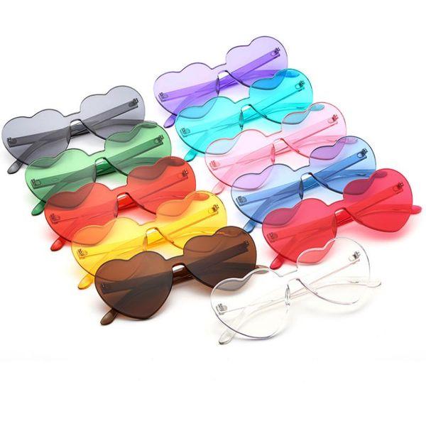 2019 novo coração forma mulheres óculos de sol de uma peça sem aro meninas óculos de sol candy cores lentes grande quadro 11 cores atacado eyewear