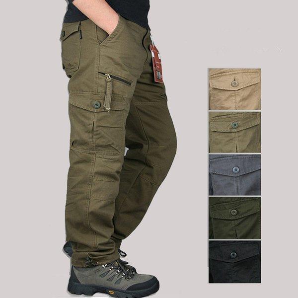 Kargo Pantolon Erkekler Taktik Çok Cep Tulumları Erkek Savaş Rahat Pamuk Gevşek Pantolon Ordu Çalışma Düz Pantolon Slacks