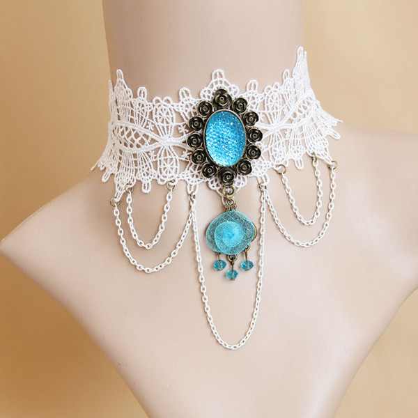 Blue Crystal Vintage White Lace Choker Necklace Charm Wedding Collar Jewelry Hollow Tassel Velvet Short Chain Jewellery For Women