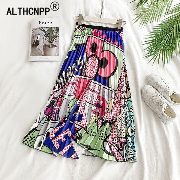 faldas mujer moda 2019 плиссированная юбка уличная одежда мультфильм каракули животных печати миди плиссе юбка с высокой талией юбки женские
