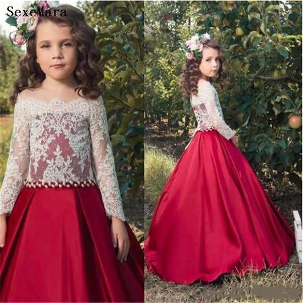 Adorable Personalizar Vestido de niñas Vestido de encaje blanco Satén rojo Vestidos de niña de las flores Vestido formal largo de fiesta de cumpleaños para niños Vestido de desfile