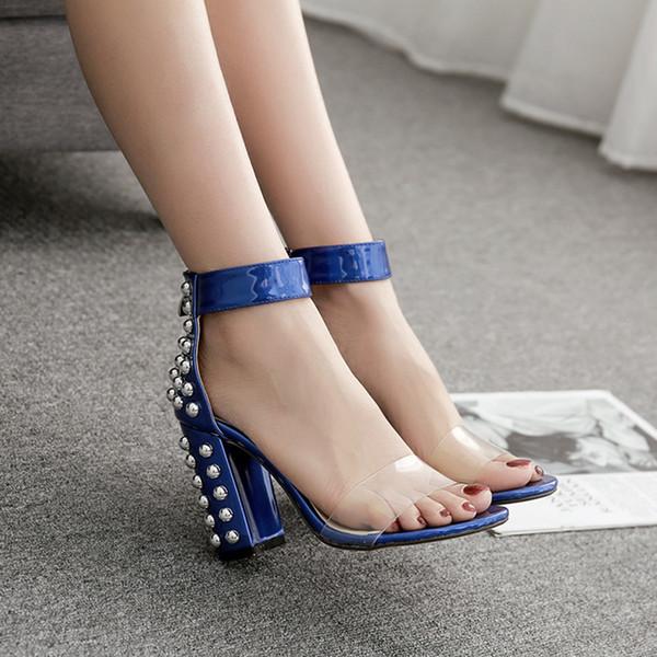 marcas reconocidas comprar auténtico reloj Compre Sexy2019 Ebay Mujer Extranjera Sandalias Patrón Filete De Pescado  Boca Uñas Transparente Traer Zapatos De Tacón Alto Gruesos A $55.62 Del ...