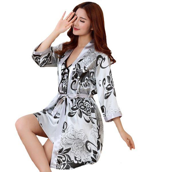 Sexy Print Female Robe Set 2 Pcs Satin Rayon Bathrobe Women Kimono Bath Gown Casual Sleepwear Nightwear Bridesmaid Robes Suit
