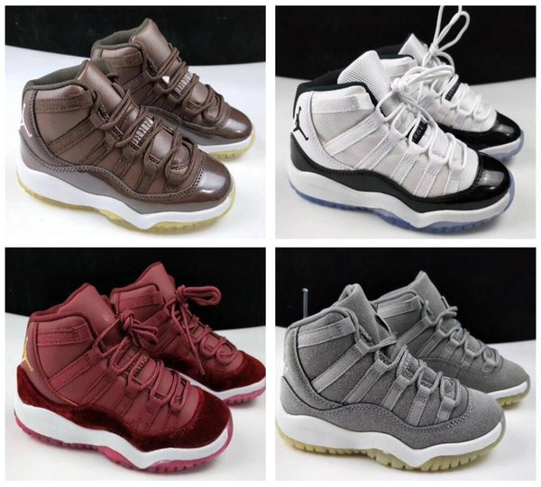 ad0934bd2a3 New 11 Space Jam Kids Sports Basketball Shoes GS Children's Heiress Suede  Maroon Bred 11s Blue