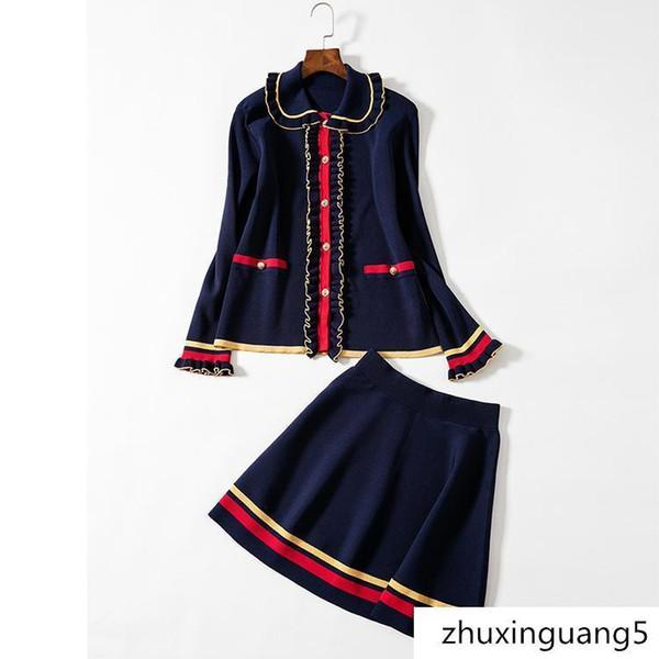 Neue hochwertige Designer Röcke Reverskragen europäischen amerikanischen stricken zweiteilige langärmeligen Regenschirm Rock Anzug