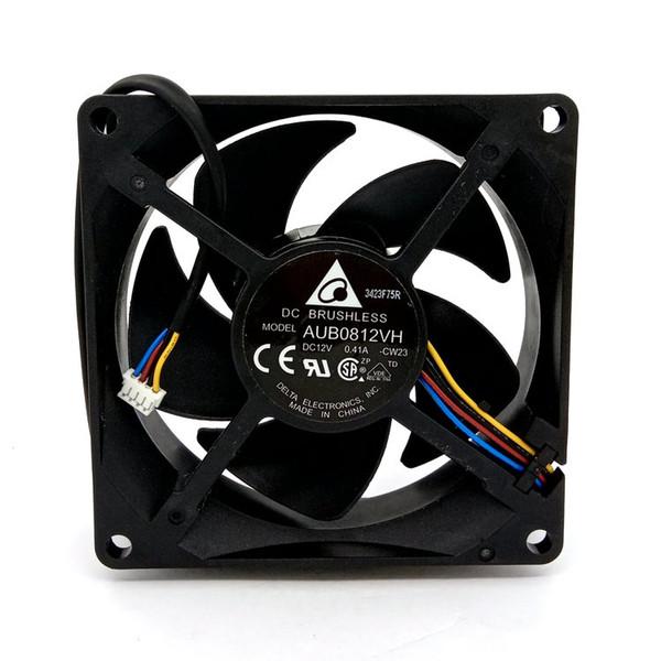 Original novo AUB0812VH DC12V 0.41A 80x80x25MM 4 linhas para o ventilador de refrigeração do projetor
