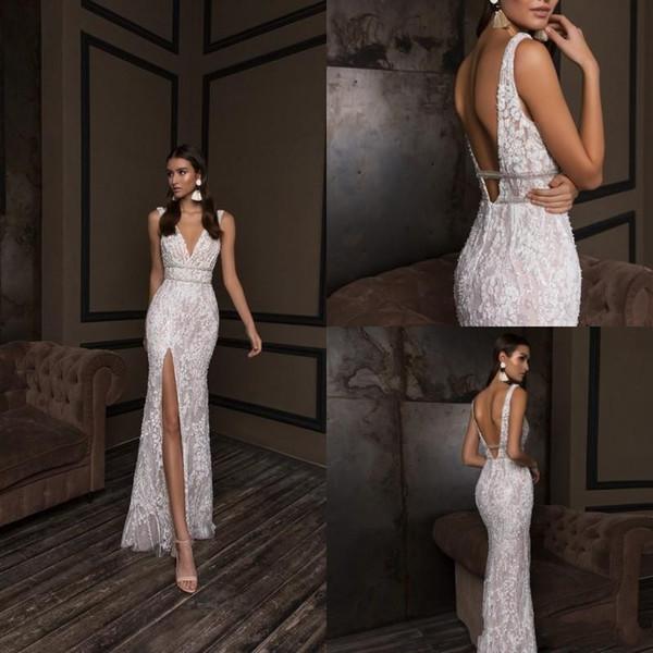 Luxury Crystal Design Mermaid Wedding Dresses 2019 Plus Size V Neck Backless Bridal Gowns Front Slit Custom Lace Wedding Dress