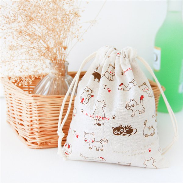 Cute cat pattern 100% cotton linen Drawstring Bag Clothes travel Store organizer dust cloth bag home Sundry kids toy storage bags