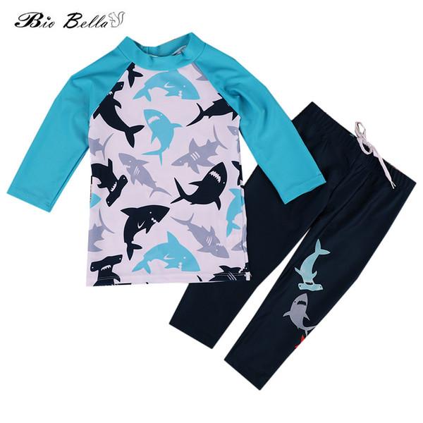 Children Swimming Suit Boy Fashion Kids Cartoon Swimwear Suit Long Sleeve Tops+Pants 2Pcs Baby Boys Swimsuit Bathing Bath Set