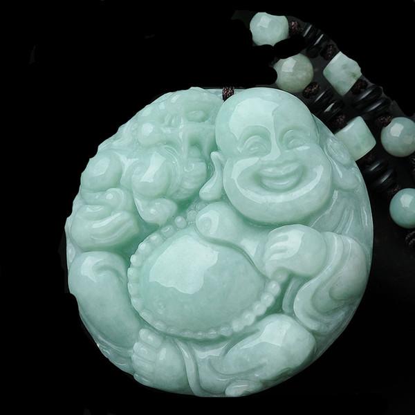 Naturale giadeite maitreya giada Laughing Buddha Buddha di Giada trasbordo uomini e donne collana in stile Invio di un certificato
