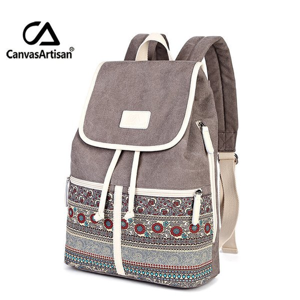 Canvasartisan Top Quality Canvas Women Backpack Casual College Bookbag Female Retro Stylish Daily Travel Laptop Backpacks Bag Y19051405