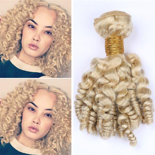 Platinum Blonde Indian Curly Human Hair Bundles Aunty Funmi Virgin Hair Bouncy Spiral Curls Hair Weave Extensions 613 Blonde Wefts