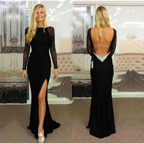 Sexy Backless Black Mermaid Evening Dress With Illusion Lace Long Sleeves Side High Slit Prom Gowns Open Back Cocktail Party Dress