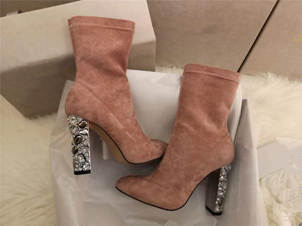Botines mujer 2019 sonbahar kış ayakkabı kadın ayak bileği çizmeler siyah pembe glitter deri yüksek topuk çorap bottines batı