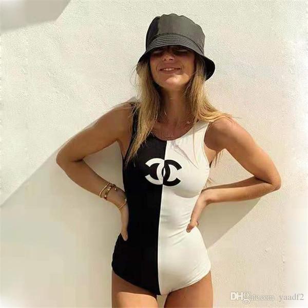 Mode Patchwork Badeanzug für Damen Simple Style Damen Badeanzüge für Summer Beach Sexy Hot Bademode mit Print Logo