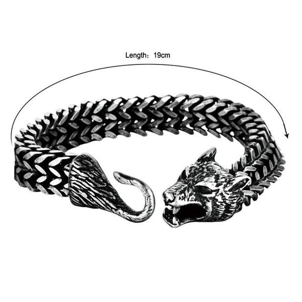 Titanium Steel Nordic Viking Pirate Celtic Wolf Head Men's Domineering Bracelet Tide Jewelry Wholesale Talisman Ethnic Jewelry