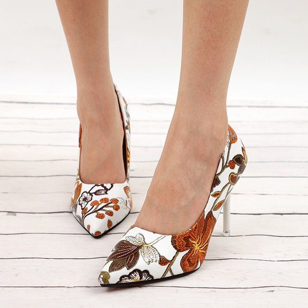 Dress Fashion Women Sexy Pumps High Heels Ladies Floral Printing Shallow Slip On Pointed Toe Office Shoes Female Footwear P