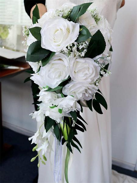 2019 Свадебные капли воды для невесты с цветами в руках Европейская свежая белая серия Имитация розового пучка Разноцветный настраиваемый букет невесты