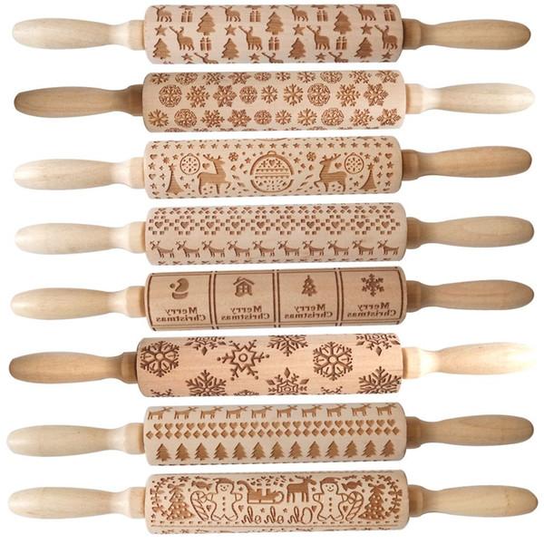top popular Christmas Embossed Rolling Pin Engraved Carved Wood Baking Cookies Biscuit Fondant Cake Dough Roller Reindeer Snowflake 2020