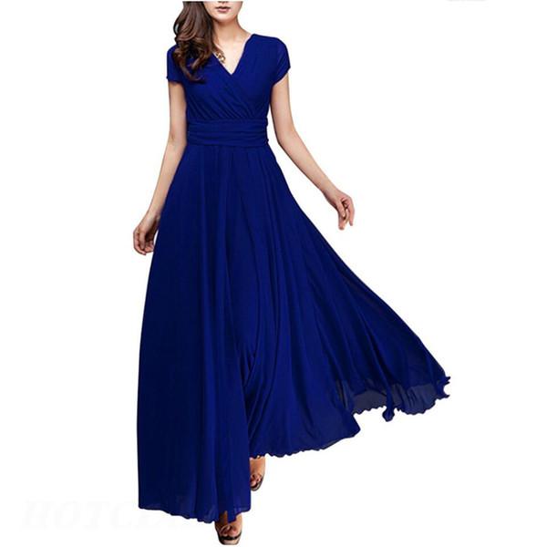 5xl Big Size Women Clothing Summer Short Sleeve Sexy Club Boho Bohemian Chiffon Beach Dress Deep V Neck Party Long Maxi Dresses J190511