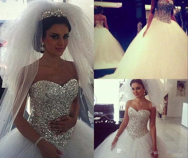 Luxurious Crystals Beaded A Line Wedding Dresses For Arabic Women 2019 Sweetheart Plus Size Sweep Train Bridal Party Gowns Robe De Marriage