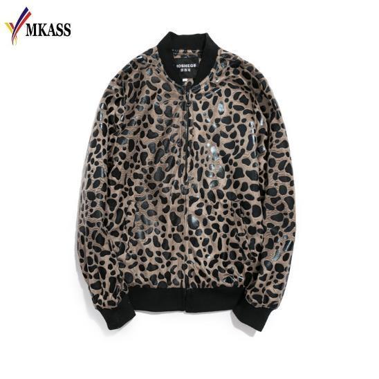 Impression Leopard Hot Jacket Mens luxe baroque Bomber vestes pour hommes Slim Fit Vêtements de club Tenues hommes Veste courte M-5XL