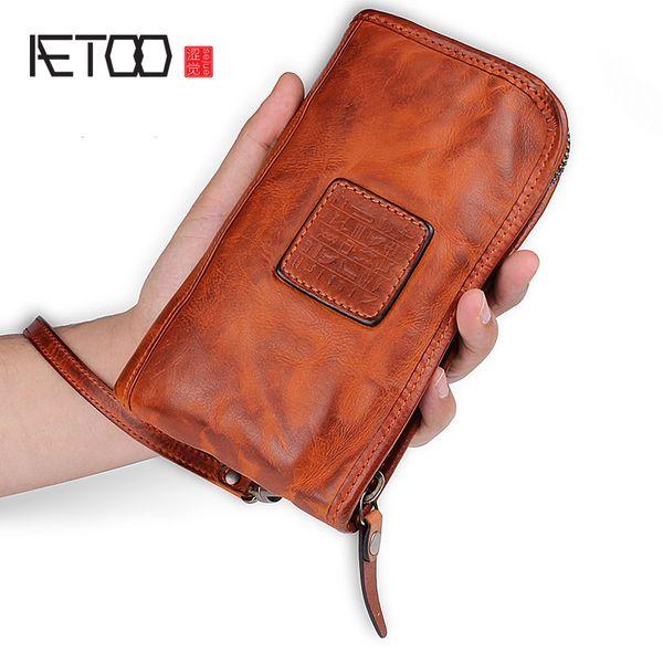 BJYL Diseño original de cuero retro billetera larga cartera con múltiples tarjetas multi-tarjeta con cremallera bolso hecho a mano