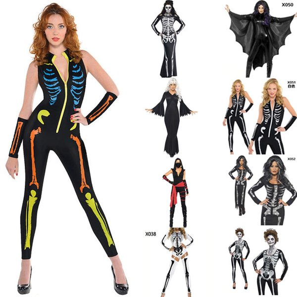 Women Halloween Jumpsuits Costumes Ghost Festival Horror Skeleton Conjoined Gowns Party Sexy Performance Dress Cosplay Clothes