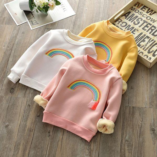 Cute Rainbow Embroidery Baby Girls Sweatshirt Velvet Blouse Girls Tops Cotton Children's Tassel T Shirt Clothing and Accessories