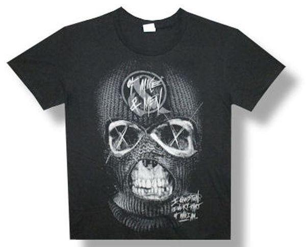 Camiseta de tejido mixto Of Mice Men-Ski Mask Skull-Black