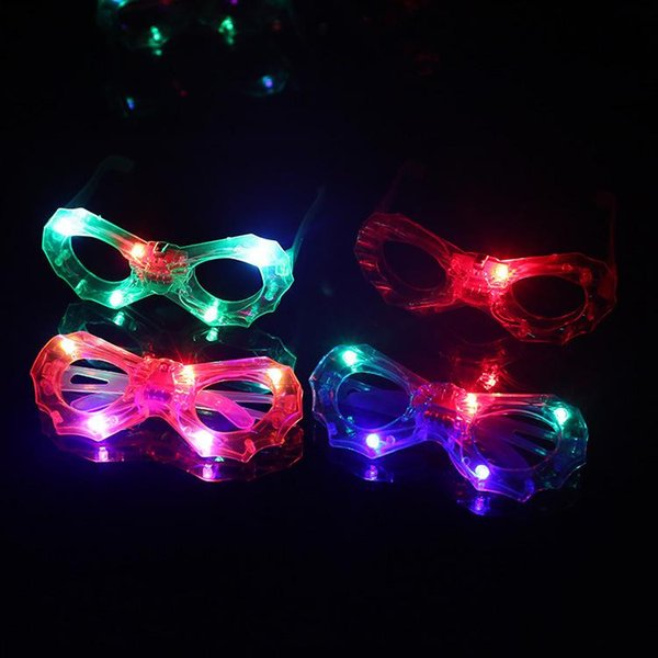 LED Flashing Glasses Light Up Rave Toys For Halloween Masquerade Mask Dress Up Christmas Party Decoration Supplies