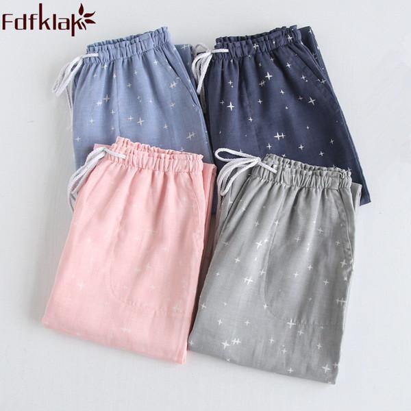 Fdfklak Frauen Pyjama Mit Hosen Baumwolle Lounge Pants Frühling Sommer Paar Pyjama Hosen Frauen Schlaf Bottoms Nachtwäsche Q1309