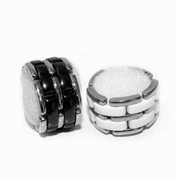 Anel de cerâmica linha dupla no diamante preto e branco estrela com o mesmo relógio cadeia ajustável versão de aço de titânio