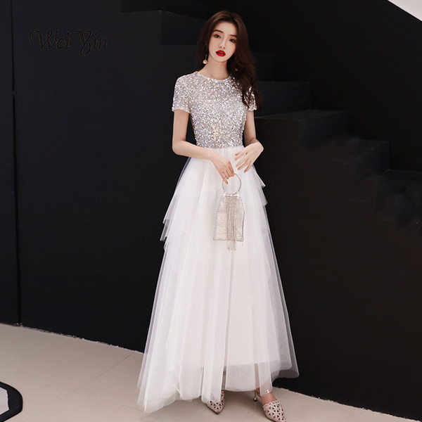 fb1495f9f4 Weiyin Sequins Arabic Long Evening Dress With Cape O Neck Off Shoulder  Dubai Prom Dresses 2019 Moroccan Kaftans Italian Evening Dresses Kids  Evening ...