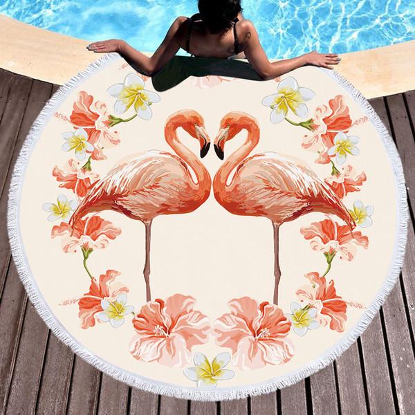 Печатных Большой 2 Фламинго Пляжное Полотенце Круглый Микрофибры Пляжные Полотенца Roundie Взрослых Serviette Де Plage Toalla Playa Горячий Продавать