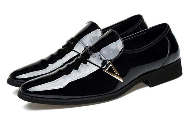 New style Men Dress Wedding Shoes Shadow Patent Leather Luxury Fashion Groom Party Shoes Men Oxford Shoes