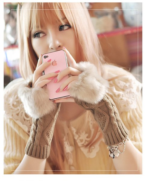 Fashion Women Faux Rabbit Fur Hand Wrist Crochet Knitted Fingerless Gloves Knitting Mittens Winter Autumn Warmer D37