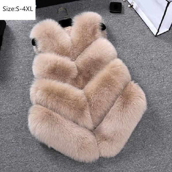 Plus Size S~4XL Women Autumn Winter Faux Fox Fur Vest Warm Female Waistcoats Hot Sale Casual Female Sleeveless Fur Jacket Coats